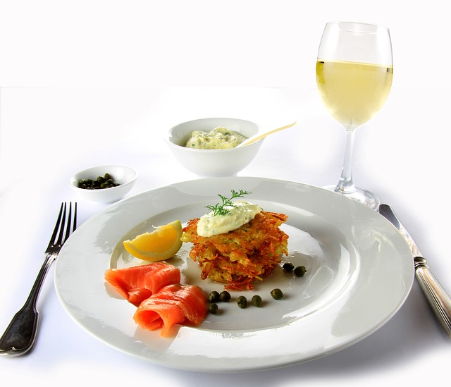 food wine salmon potato plate meal vegetables